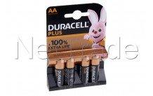 Duracell batterie  alkaline  aa  / mn1500 / lr06 plus 100% extra life  blister 4 pcs - 12731