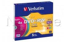 Verbatim 5 x dvd + rw-4.7 gb 4 x-slim-hülle - 43297